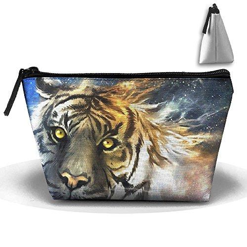Makeup Bag Trapezoidal Storage Bag Abstract Tiger Wild Portable Cosmetic Bag Ladies Mobile Travel Bag