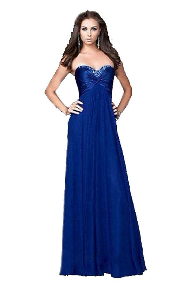 HaoSiJie Womens Sequin on Chest Floor Length Chiffon Dress