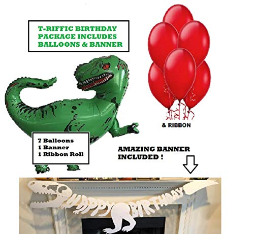 Dinosaur Party Happy Birthday Balloons - 9 Piece Jurassic Decoration Kit - Helium & Latex Dino Balloon Supplies - Prehistoric Set with Banner - by Jolly Jon ® (with Banner)
