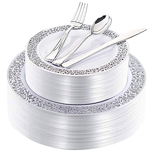 180 Pieces Silver Plastic Plates with Disposable Silverware, Lace Design Silver Plates Includes 36 Dinner Plates 10.25 Inch, 36 Dessert Plates 7.5 Inch, 36 Forks, 36 Knives, 36 Spoons -