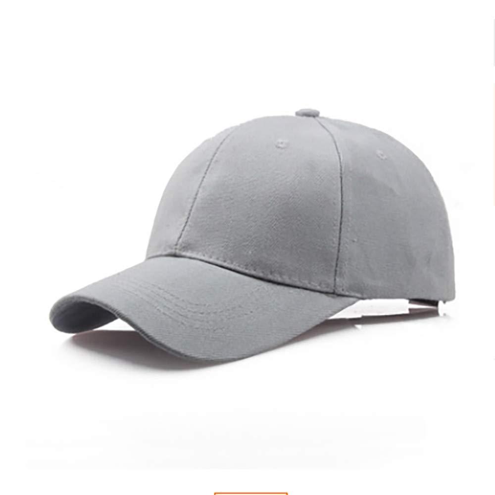 Toponly Solid Color Outdoor Sun Hat Cotton Adjustable Snapback Hats Men's Women's Hip-Hop Flat Bill Baseball Caps 56~60cm Gray