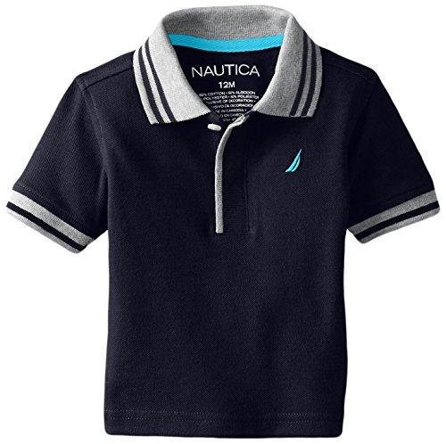 Baby Pique Polo - Nautica Baby Boys' Short Sleeve Solid Pique Tipped Collar Polo, Sport Navy, 18 Months