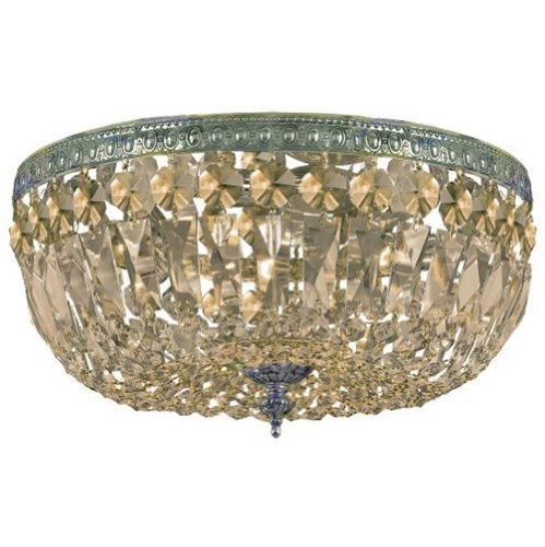 Crystorama 714-AG-GT-MWP Crystal Three Light Semi-Flush from Ceiling Mount collection in ()
