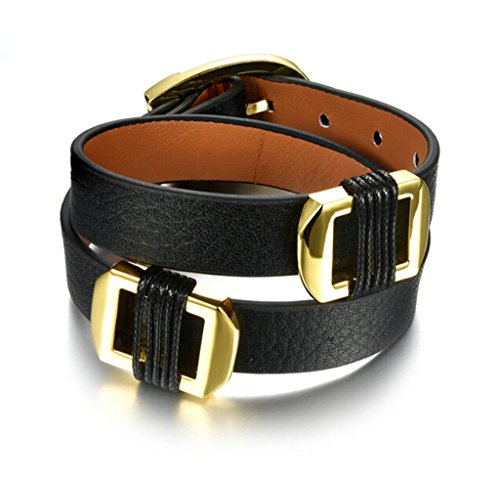 Epinki Stainless Steel Womens Mens Bracelet Double Layer Leather Belt Buckle Black 16.5CM