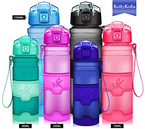 KollyKolla Water Bottle BPA Free Tritan, Opens with 1-Click Flip Top Leak-Proof Lid, Kids Drinks Bottle, Reusable Water Bottles with Filter, for Sports, Outdoors, Gym, Yoga, (380ml Matte Dark Blue)