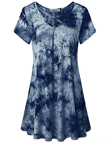 MOQIVGI Tunic Dress Shirt, Designer Pretty Female Sexy Deep V Neck Going Out Tops Country Plain Slouchy Short Sleeve Figure Flattering Long Blouse for Women to Wear with Leggings Navy Blue X-Large