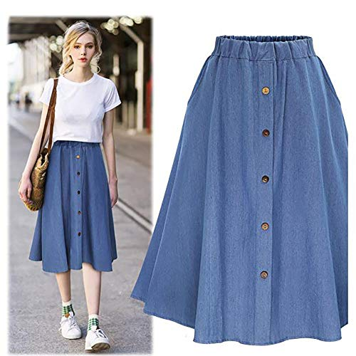 - Euone  Skirt, Women Denim Long Skirt A-line Skirt Winter Autumn Plain Buttons Skirt