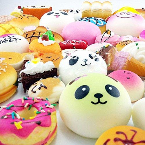 EVINIS 20Pcs Jumbo Medium Mini Random Squishy Soft Panda/Bread/Cake/Buns Phone Straps (20 Pcs) by EVINIS (Image #3)