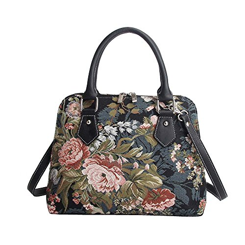 Signare-Tapestry-Handbag-Satchel-Bag-Shoulder-bag-and-Crossbody-Bag-and-Purse-for-women-with-Peony-Flower-in-Black-CONV-PEO