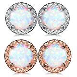 GULICX Round CZ Cubic Zirconia Fire White Opal Halo Stud Earrings for Women (Silver+Rose gold-1)