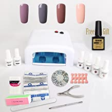 Nail Gel Polish Starter Kit 4 Vishine Colours Soak Off Gel Polish + Top Base Coat + 36W UV Lamp + Nail Art Accessories Set + Removers & 1 FREE MATTE TOP COAT Manicure K009