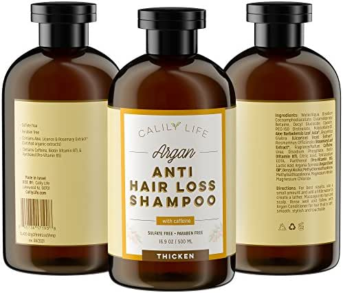 Calily Life Organic Caffeine Hair Growth and Anti Hair Loss Shampoo, 17 Oz. – For Men & Women - Infused with Argan Oil, Vitamins B5, B7 and more - Strengthens, Thickens & Protects [ENHANCED]