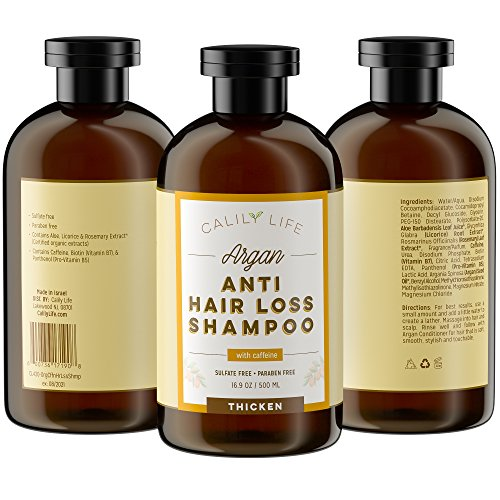 Calily Life Organic Caffeine Hair Growth and Anti Hair Loss Shampoo, 17 Oz. - For Men & Women - Infused with Argan Oil, Vitamins B5, B7 and more - Strengthens, Thickens & Protects [ENHANCED]