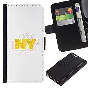 For Apple iPhone 6 Plus(5.5 inches),S-type® Nyc New York City Yellow White - Dibujo PU billetera de cuero Funda Case Caso de la piel de la bolsa protectora