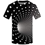 Men T Shirt Black Casual Novelty Short Sleeve Round Neck 3D Print Funny Graphic Tops Tees (L, Black)