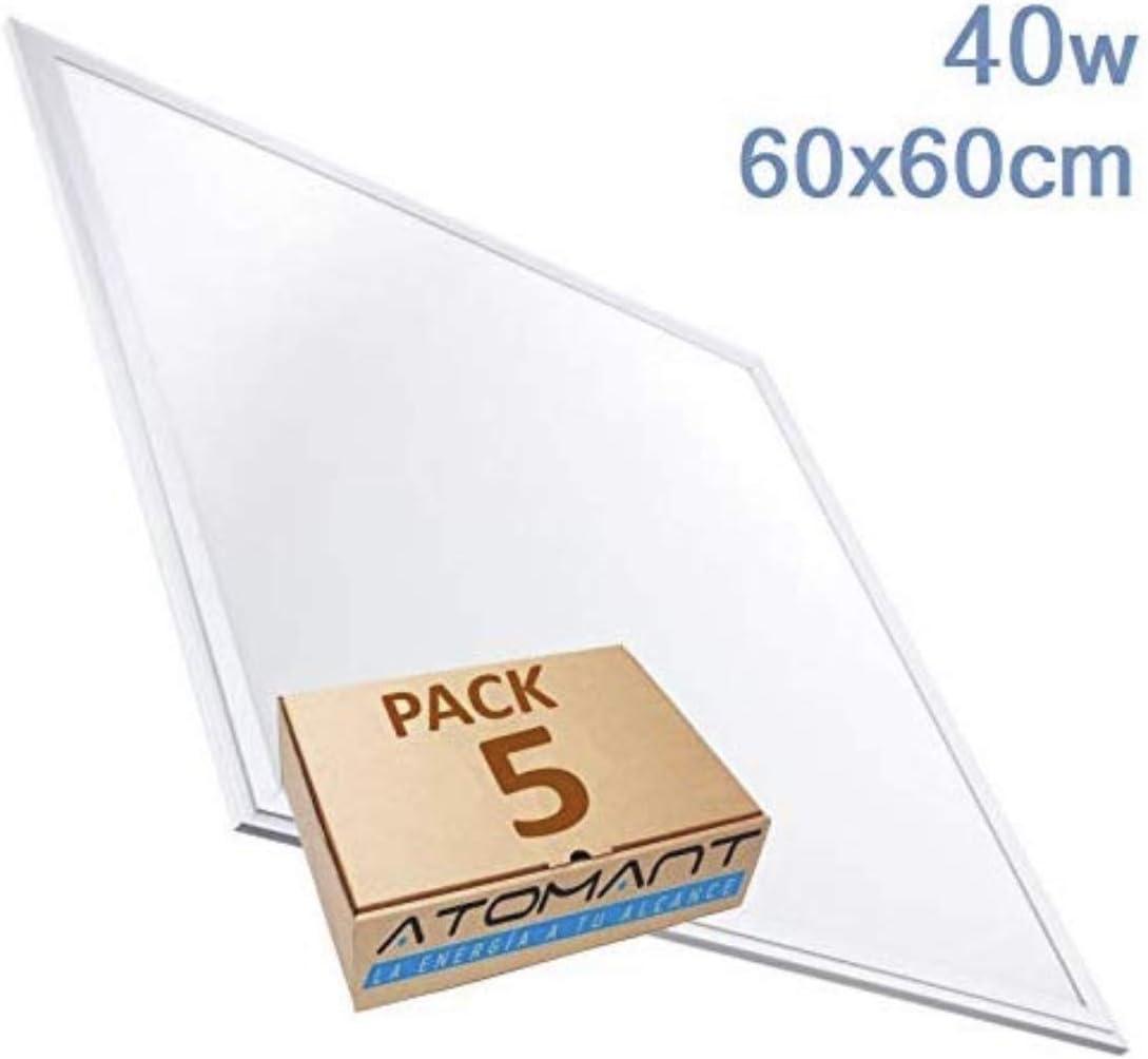 Pack 5x Panel Led slim 60x60 cm, 40 W. Color Blanco Neutro (4500K). 3200 Lumenes. Driver incluido. A++