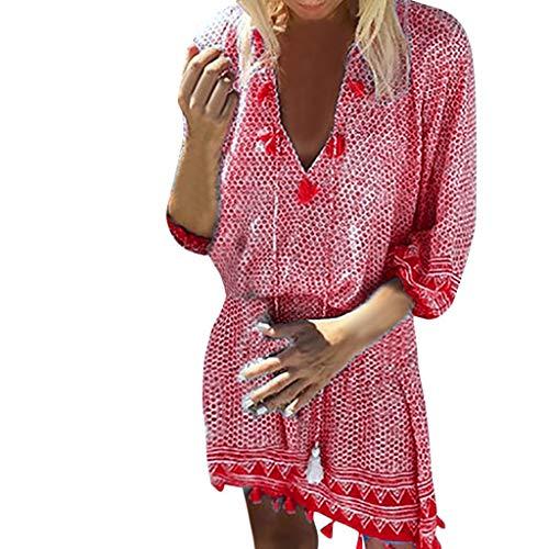 Women Bohemian Neck Tie Vintage Printed Ethnic Style Mini Dress Summer Retro Tassel Long-Sleeved Casual Beach Dress Red