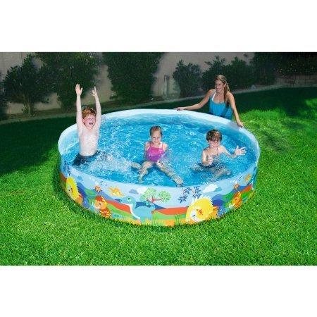 id Heavy-duty, Durable, PVC Sidewall Dinosaurous Fill 'N Fun Pool- Repair patch included ()