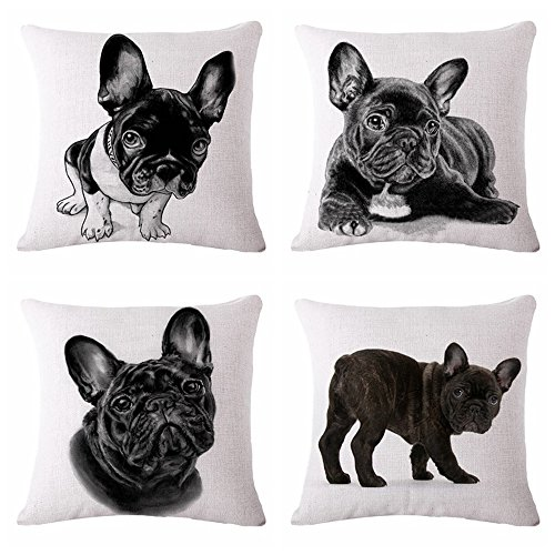 MHB Decorative Animals French Bulldog Cotton Linen Throw Pillow Covers 18 x18 Inch (Pack of 4 Pieces)