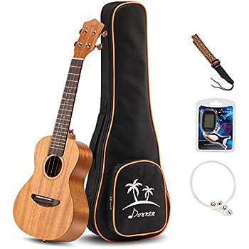 Donner Concert Ukulele Mahogany DUC-1 23 inch with Ukulele Set Strap Nylon String Tuner