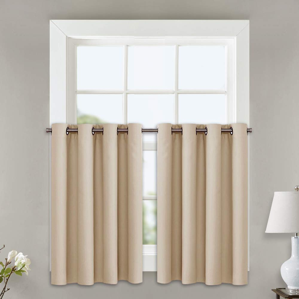 NICETOWN Room Darkening Curtains for Window - Functional Thermal Insulated Window Treatment Drapes for Loft (Biscotti Beige, 2 Panels, 52W by 24L + 1.2 Inches Header)