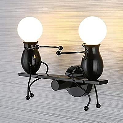 Maikouhai E27 2 Head Modern Charming Chandelier Creative Iron People Sconce Wall Lamp Elegant Wall Lights Hanging Holder Hanger