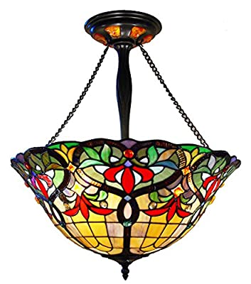 Fine Art Lighting Tiffany Hanging Lamp, 20 by 26-Inch, 556 Glass Cuts and 24 Cabochons