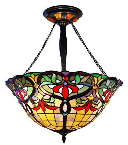 Fine Art Lighting JH2020 556 Glass Cuts and 24 Cabochons Tiffany Hanging Lamp, 20 x 26