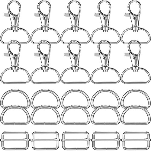 Gejoy 50 Pieces Stainless Steel Silver Swivel Snap Hooks and D Rings and Slide Buckle Triglide for Luggage Hardware Accessories Set, Keychain, Fasteners Strap (Swivel Buckle)