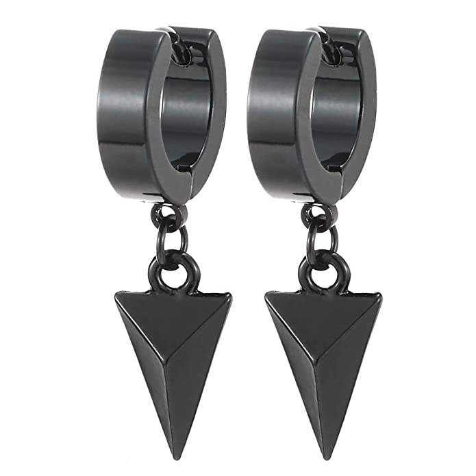 Black Dangling Triangle Pyramid Huggie Hinged Earrings for Men Women, Stainless Steel, 2pcs …