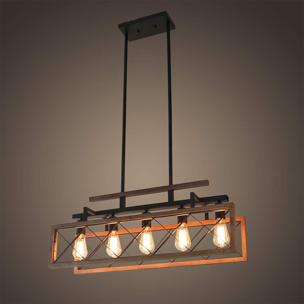 Giluta Rustic Wooden Chandelier Kitchen Island Light Farmhouse Chandelier Hanging Pendant Lighting Fixture Vintage Ceiling Light 5 Lights Ideal for Living Room Pool Table or Foyer (C0060) by Giluta (Image #3)