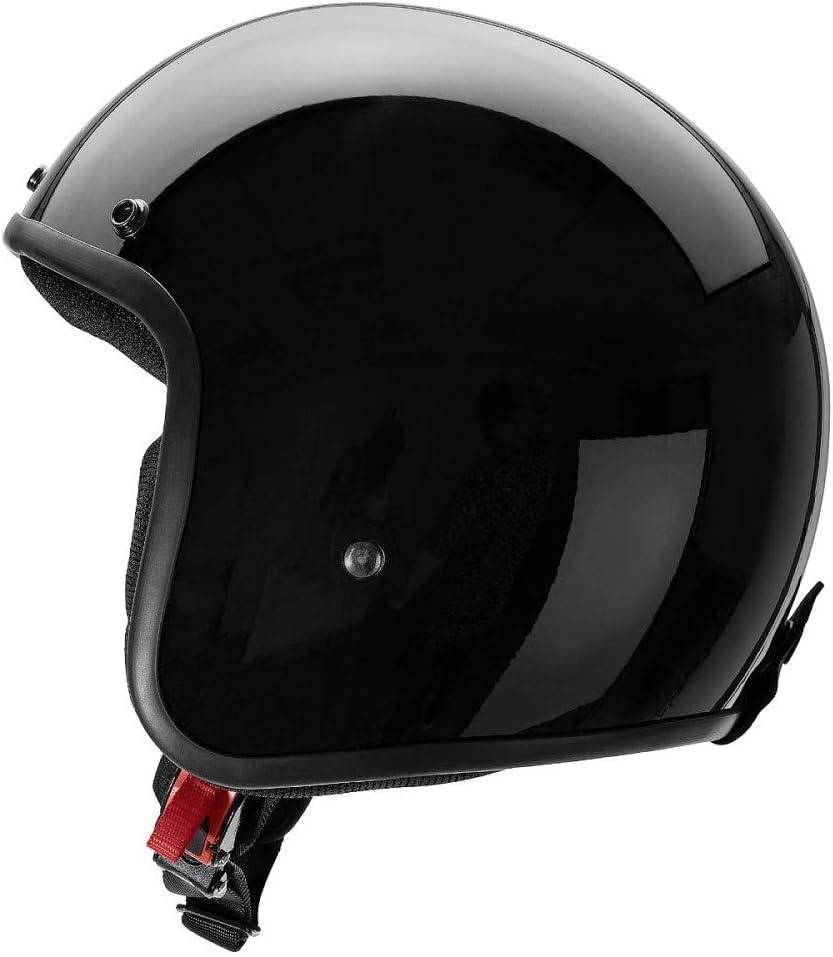 visera parasol extra/íble CRUIZER Casco homologado para scooter moto Jet negro brillante sin visera con calota externa de fibra interiores hipoalerg/énicos y transpirables L Negro