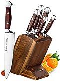 Emojoy Knife set, Kitchen Knife Set, Wooden Block 6 Pieces Knife Set with Block, German Stainless Steel (1)