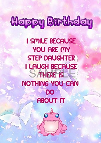 Step Daughter Funny Special A5 Birthday Greetings Card Amazoncouk Handmade