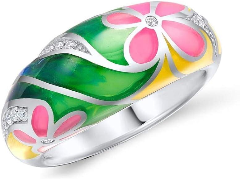 CCWANRZ Compromiso Anillos de boda para mujer Anillo de esmalte ...