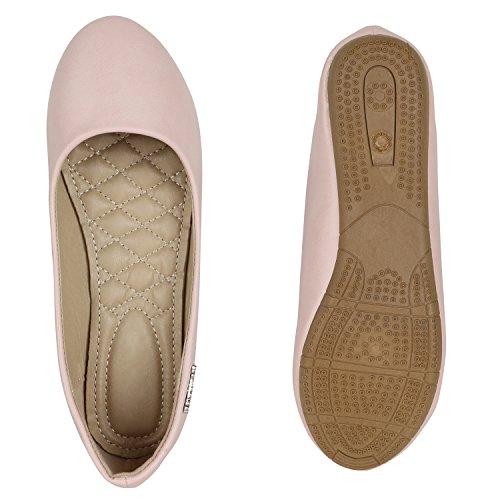 Klassische Damen Ballerinas Leder-Optik Flats Schuhe Übergrößen Flache Slipper Spitze Prints Strass Flandell Rosa