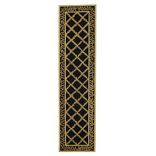 Safavieh Chelsea Collection HK230D Hand-Hooked Black and Gold Premium Wool Runner (2'6