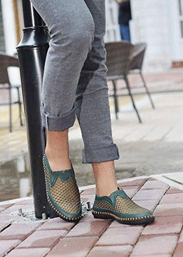 slip on morbido scarpe mesh uomo Verde moda scarpe estive pelle in Mesh da uomo estate scarpe Bebete5858 marchio traspirante casual confortevole vera P7n44w