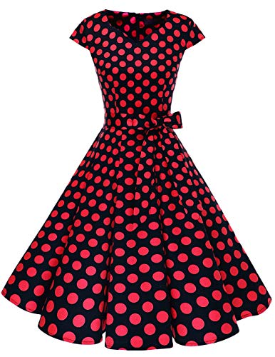 DRESSTELLS Retro 1950s Cocktail Dresses Vintage Swing Dress with Cap-Sleeves Black Red Dot 2XL