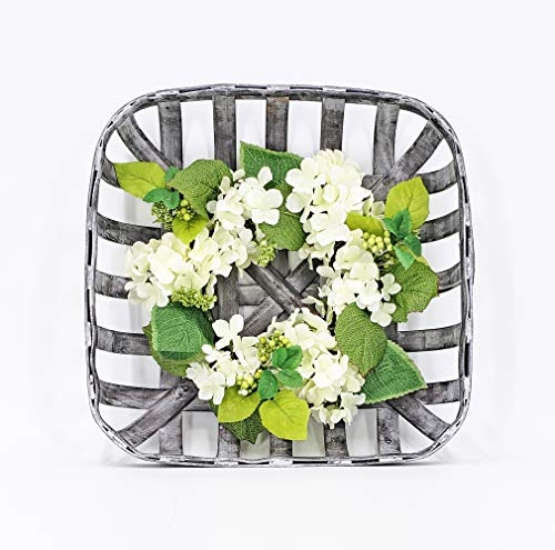 "ES ESSENTIALS Grey Washed 15"" Tobacco Basket with Hydrangea Wreath Farm House Decor. (Small with Hydrangea Wreath)"