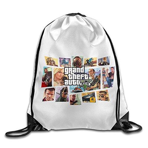 Creative Design GTA 5 Grand Theft Auto V Game Logo Drawstring Backpack Sport Bag For Men And
