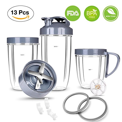 NutriBullet Parts kit ULTIMATE Cups & Blade &Top Gear & Gaskets & Shock Pad Replacement Set for NutriBullet High-Speed Blender/Mixer System|13-Piece Replacement Set for NutriBullet 600W-900W Series by NutriBullet