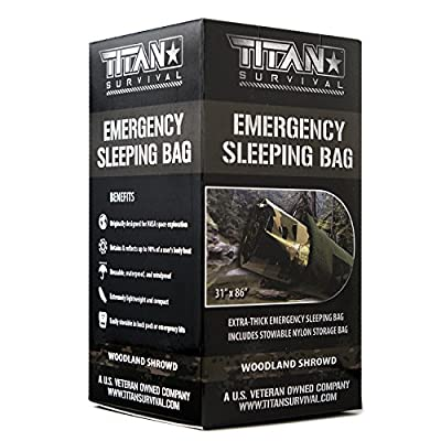 TITAN Extra-Thick Emergency Mylar Sleeping Bag | Designed for NASA Space Exploration and Heat Retention. Perfect for Survival Kits and Go-Bags. Includes Nylon Drawstring Bag and eBooks.