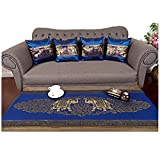 Sofa Set 1 Table runner + 4 Cushion Shiny Blue King Elephants Beautiful Thai Silk Blend Table/bed Runner Size : 20 Inches X 2 M.