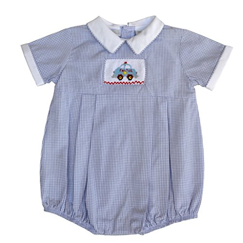 - Carriage Boutique Baby Boys Hand Smocked Classic Creeper - Grey Checkered Police Car, 3M