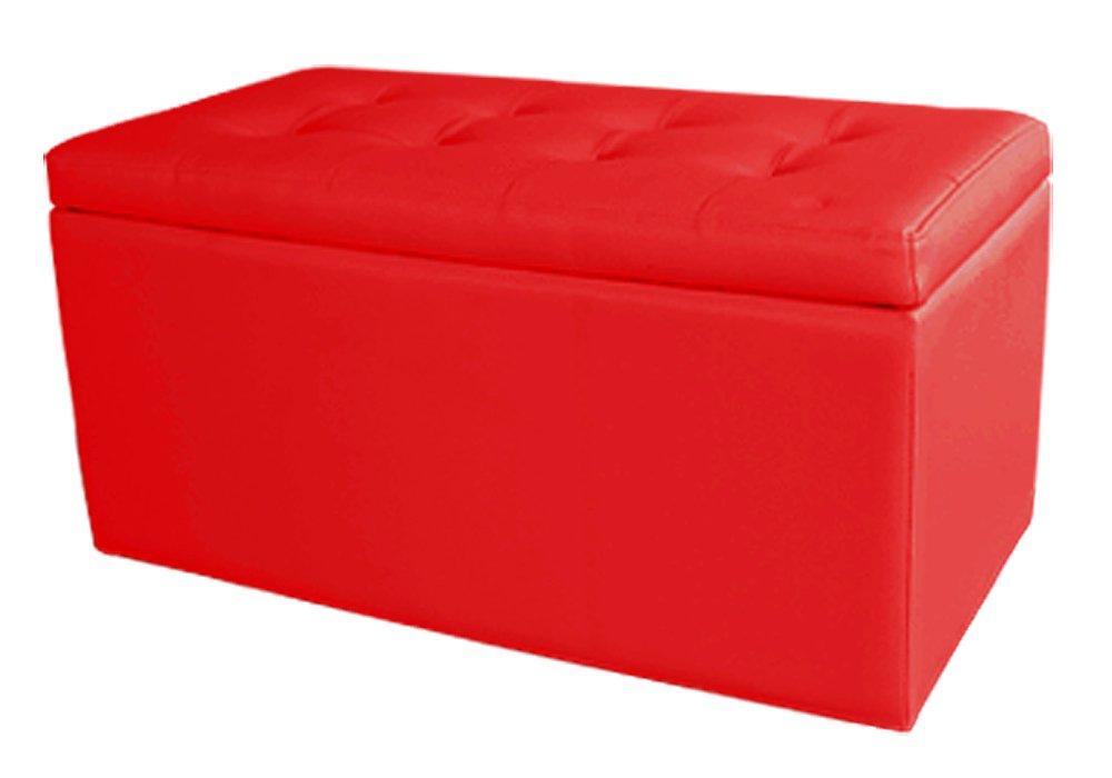 スツール レザー ふたりがけ ベンチ 収納 B005WQ0QME 赤 赤