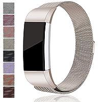 Bandas de metal de repuesto Maledan para Fitbit Charge 2, pulsera de acero inoxidable milanesa con cierre magnético para Fitbit Charge 2 HR, Champange Small