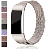 For Fitbit Charge 2 Bands, Maledan Stainless Steel Milanese Loop Metal Replacement Accessories Bracelet Strap with Unique Magnet Lock for Fitbit Charge 2 HR Large Small, Silver, Black, Gold, Rose Gold