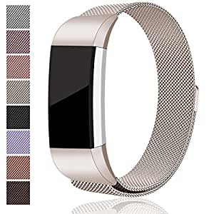 For Fitbit Charge 2 Bands, Maledan Stainless Steel Milanese Loop Metal Replacement Accessories Bracelet Strap with Unique Magnet Lock for Fitbit Charge 2 HR Champange Small