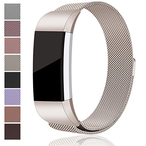 Maledan Replacement Metal Bands for Fitbit Charge 2, Stainless Steel Milanese Bracelet Strap with Magnet Lock for Fitbit Charge 2 HR, Champange Large